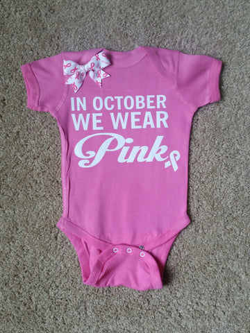 In October We Wear Pink - Mia Grace Designs -  Body Suit - Glitter  - Onesie - Ruffles with Love - Baby Clothing - RWL - On Wednesdays - Mommy's Princess - Diva