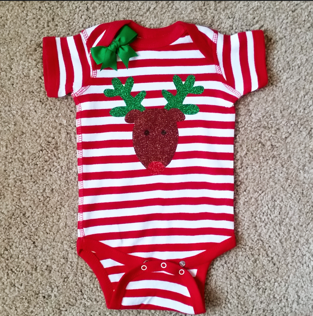 Reindeer Onesie - Christmas Baby - Striped Onesie - Girls Onesie -  Body Suit - Glitter  - Onesie - Ruffles with Love - Baby Clothing - RWL Kids