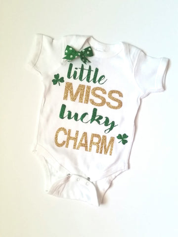 Little Miss Lucky Charm - Saint Patricks Day - Mia Grace Designs -  Body Suit - Onesie - Ruffles with Love - Baby Clothing - RWL Kids