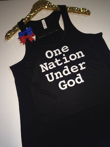 One Nation Under God- Ruffles with Love - Racerback Tank