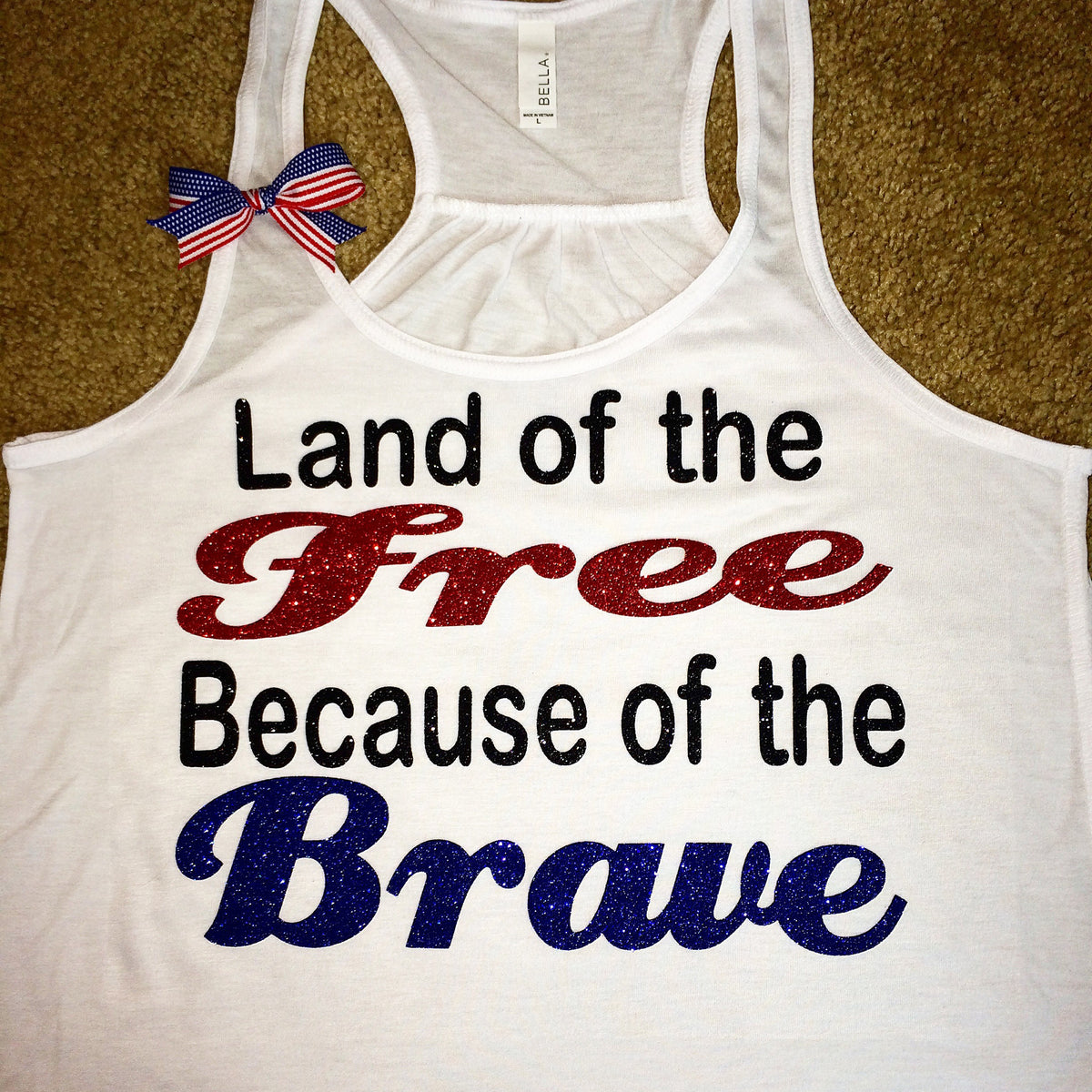 24e2628782a21 Land of the Free - Because of the Brave - White Tank - Ruffles with Love - Racerback  Tank - Womens Fitness - Workout Clothing - Workout Shirts with Sayings