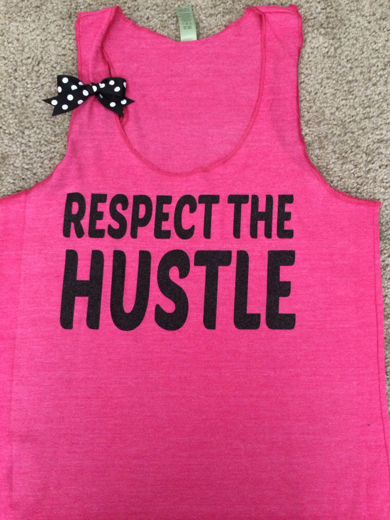 Respect the Hustle - Racerback Workout Tank - Womens Fitness - Ruffles with Love - Fitness Tank