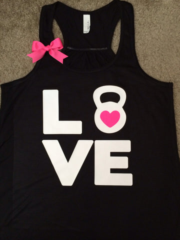 Kettle Bell Love Tank - Ruffles with Love - Racerback Tank - Womens Fitness - Crossfit - Workout Clothing - Workout Shirts with Sayings - LOVE Symbol Tank