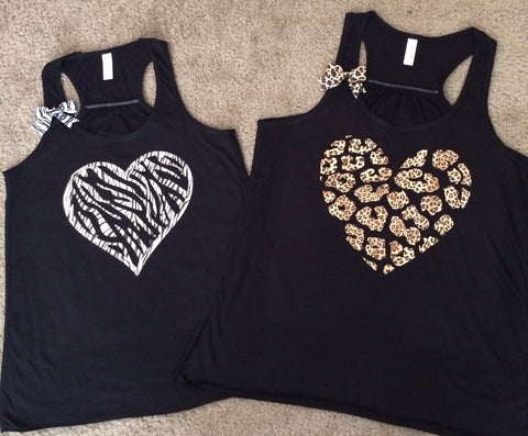 Animal Print Heart Tank - Leopard Heart  or Zebra Heart - Ruffles with love - Womens Fitness Tank