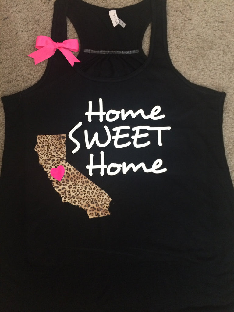 State Tank - Home Sweet Home - Leopard State - Racerback tank - Fun Tank - Womens fitness Tank - Workout clothing