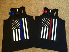 Thin Red Line - Thin Blue Line - Flag Shirt - Ruffles with Love - Law Enforcement Tank - Firefighter Shirt - Police Shirt - LEO