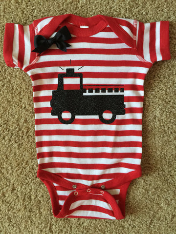 Firefighter Onesie - Fireman Onesie - Firefighter Baby - Glitter Onesie - Onesie - Ruffles with Love - Girls Onesie