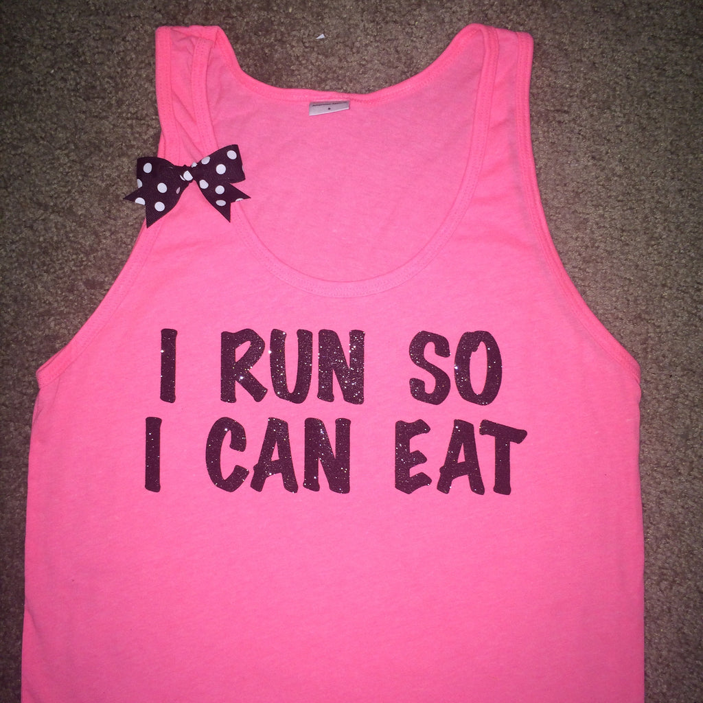 BLACK FRIDAY SAMPLE SALE - I Run So I Can Eat - Neon Pink - UNISEX Tank - Ruffles with Love - Womens Fitness - Workout Tank - Bow Tank