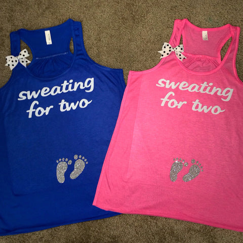 Sweating for Two - Pink - Blue Tank Mom to Be - Expectant Mother - Baby Bump Tank - Ruffles with Love