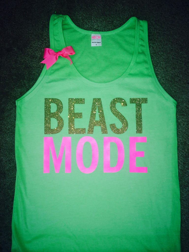 SALE - Neon Green Beastmode Tank - UNISEX Tank- Ruffles with Love - Womens Fitness - Workout Tank - Bow Tank