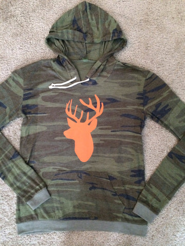 Camo - Deer Hunting Sweatshirt - Eco Fleece - Workout Hoodie - Ruffles with Love