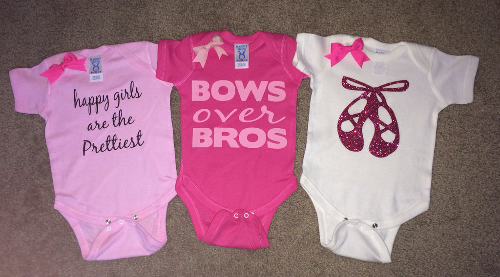 Girl Onesies -  Body Suit - Glitter  - Onesie - Ruffles with Love - Baby Clothing - RWL - Ballerina Shoes - Bows over Bros - Happy Girls