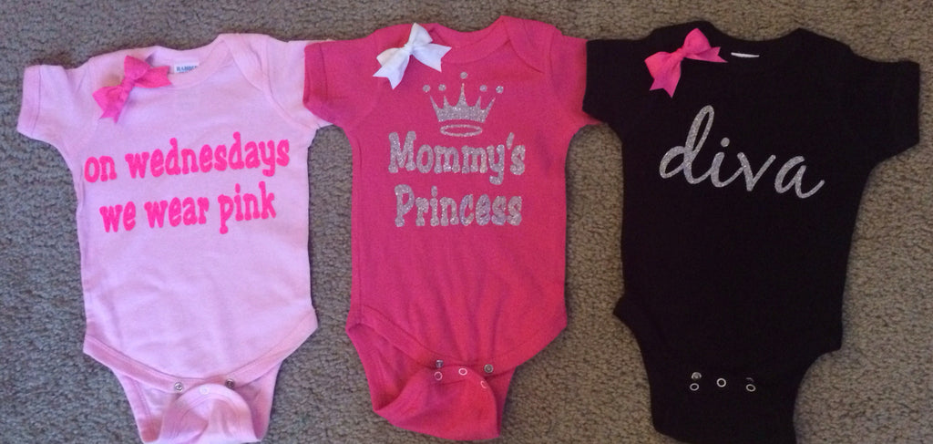 Girl Onesies -  Body Suit - Glitter  - Onesie - Ruffles with Love - Baby Clothing - RWL - On Wednesdays - Mommy's Princess - Diva