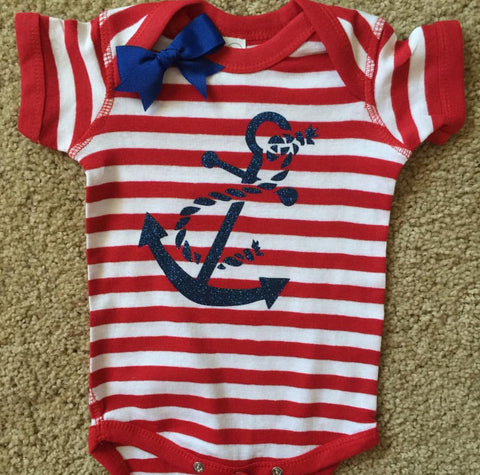 Anchor Onesie - Striped Onesie - Girls Onesie -  Body Suit - Glitter  - Onesie - Ruffles with Love - Baby Clothing - RWL Kids