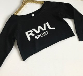 RWL Sport - Crop - Raw Edge - Off the Shoulder Sweatshirt - Ruffles with Love
