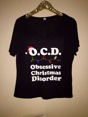 O.C.D. Obsessive Christmas Disorder - V-NECK - OCD - Christmas Shirt - Christmas Clothing -  Ruffles with Love
