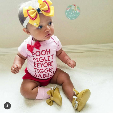 Pooh - Piglet - Eeyore- Tigger - Rabbit -  Body Suit - Glitter  - Onesie - Ruffles with Love - Baby Clothing - RWL Kids