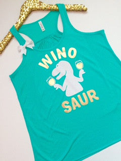 Winosaur - Wine Tank - Ruffles with Love - Racerback Tank - Womens Fitness - Workout Clothing - Workout Shirts with Sayings