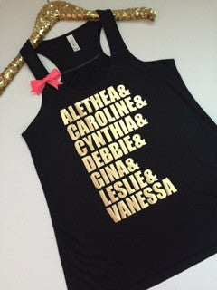 Custom Friend Name Shirt - Name Tank -  Racerback Workout Tank - Womens Fitness - Ruffles with Love - Fitness Tank