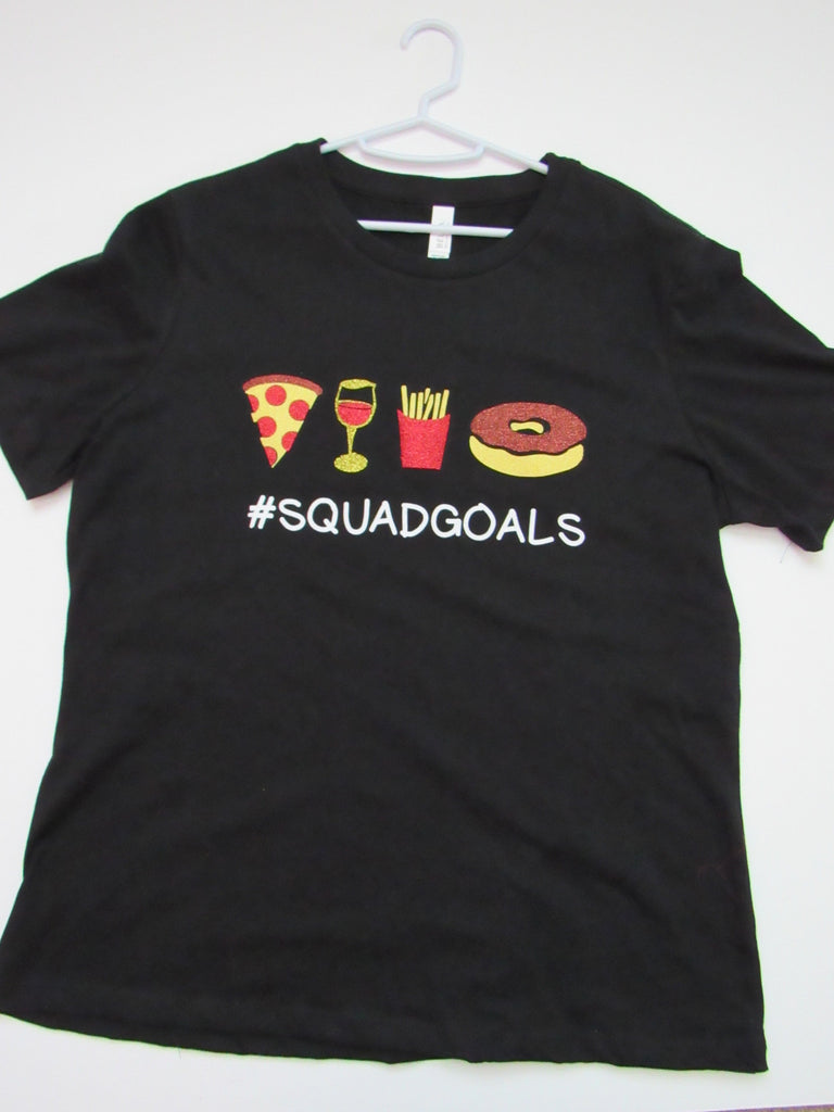 BLACK FRIDAY SAMPLE SALE - LARGE - SQUAD GOALS T-SHIRT  - Ruffles with Love - Womens Fitness - Workout Clothing - Workout Shirts with Sayings