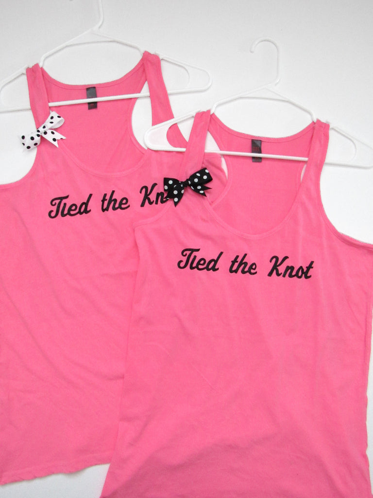 SALE - TIED THE KNOT TANK  - Ruffles with Love - Racerback Tank - Womens Fitness - Workout Clothing - Workout Shirts with Sayings