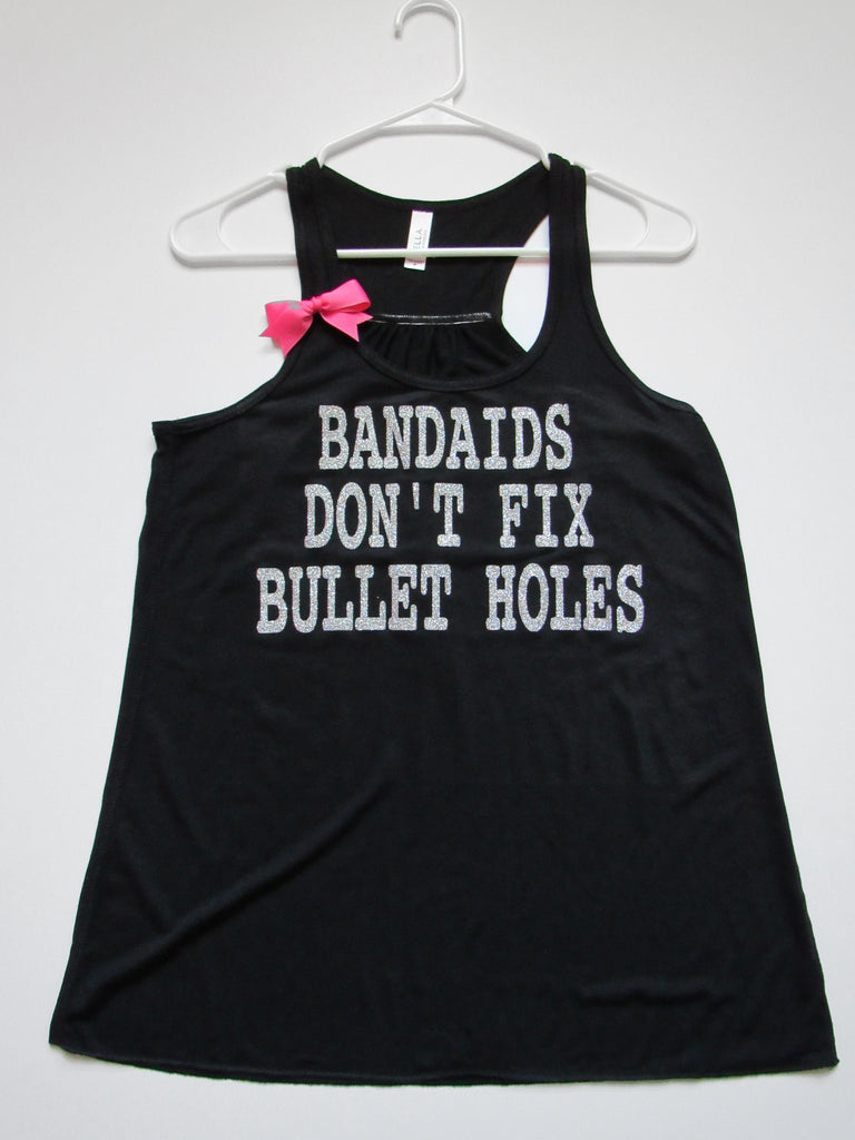 BLACK FRIDAY SAMPLE SALE - MEDIUM - BANDAIDS DON'T FIX BULLET HOLES - Taylor Swift Tank - Ruffles with Love - Racerback Tank - Womens Fitness - Workout Clothing - Workout Shirts with Sayings