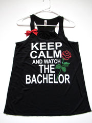 SALE - MEDIUM - KEEP CALM AND WATCH THE BACHELOR - Ruffles with Love - Racerback Tank - Womens Fitness - Workout Clothing - Workout Shirts with Sayings