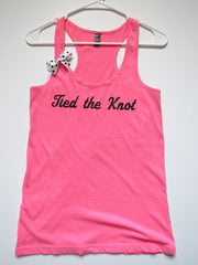 SALE - SMALL - TIED THE KNOT - Ruffles with Love - Racerback Tank - Womens Fitness - Workout Clothing - Workout Shirts with Sayings