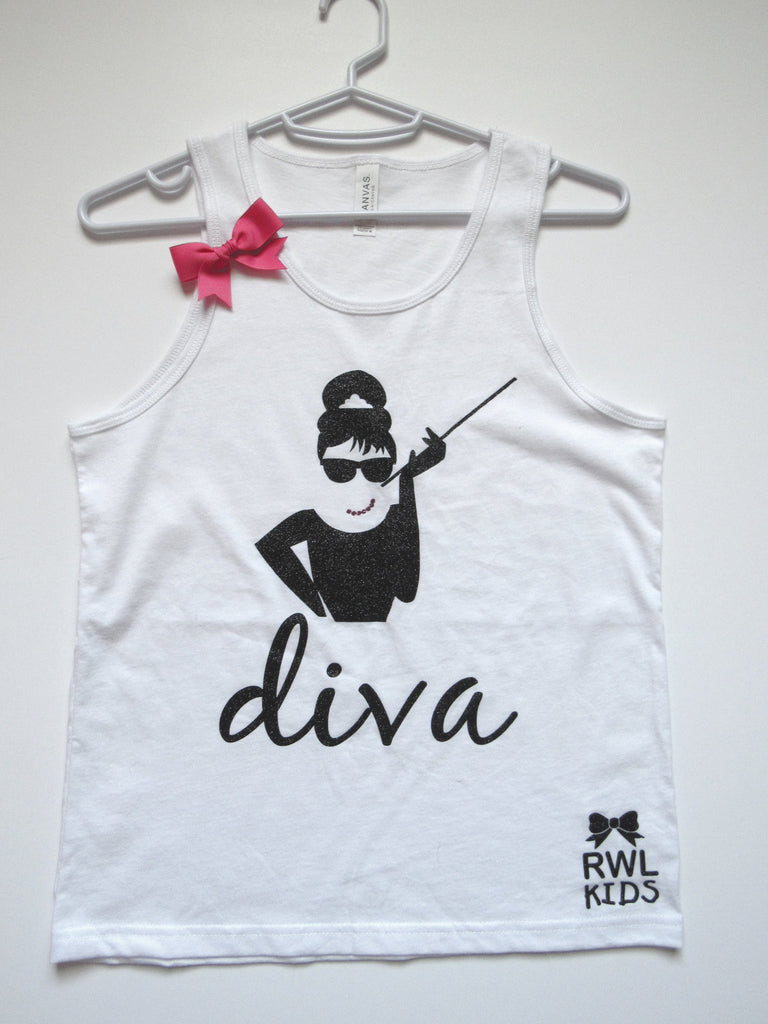 SALE - YOUTH MEDIUM - AUDREY HEPBURN - Diva Tank - Youth Tank - Ruffles with Love