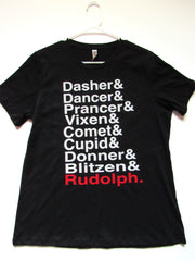 BLACK FRIDAY SAMPLE SALE - LARGE - REINDEER NAMES - T-SHIRT - Ruffles with Love - Womens Fitness - Workout Clothing - Workout Shirts with Sayings