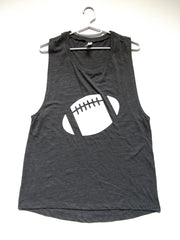 BLACK FRIDAY SAMPLE SALE - LARGE - GREY FOOTBALL MUSCLE TANK - Ruffles with Love - Womens Fitness - Workout Clothing - Workout Shirts with Sayings