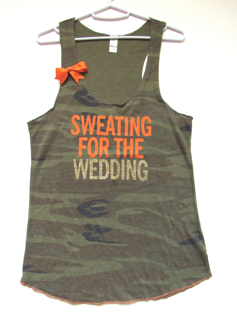 BLACK FRIDAY SAMPLE SALE - LARGE - SWEATING FOR THE WEDDING - Camo Racerback Tank - Ruffles with Love - Womens Fitness - Workout Clothing - Workout Shirts with Sayings