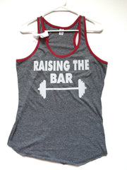 BLACK FRIDAY SAMPLE SALE - LARGE - RAISING THE BAR - Racerback Tank - Ruffles with Love - Womens Fitness - Workout Clothing - Workout Shirts with Sayings