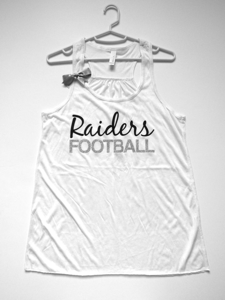 BLACK FRIDAY SAMPLE SALE - LARGE - RAIDERS FOOTBALL TANK - Racerback Tank - Ruffles with Love - Womens Fitness - Workout Clothing - Workout Shirts with Sayings