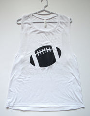 BLACK FRIDAY SAMPLE SALE - LARGE - FOOTBALL MUSCLE TANK - Ruffles with Love - Womens Fitness - Workout Clothing - Workout Shirts with Sayings