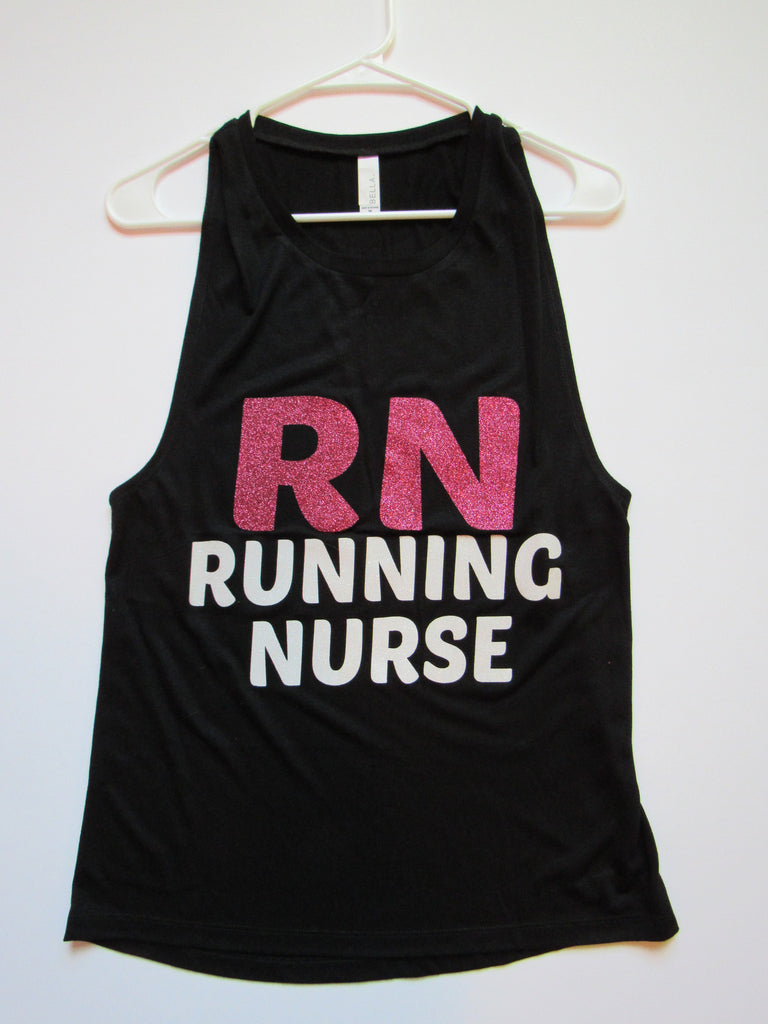 SALE - MEDIUM - RN RUNNING NURSE - MUSCLE TANK - Ruffles with Love - Womens Fitness - Workout Clothing - Workout Shirts with Sayings