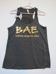 BLACK FRIDAY SAMPLE SALE - MEDIUM - BAE TANK - Racerback Tank - Ruffles with Love - Womens Fitness - Workout Clothing - Workout Shirts with Sayings