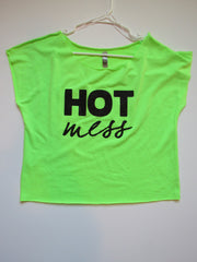 SALE - MEDIUM - HOT MESS - LIME GREEN CROP TOP - Ruffles with Love - Womens Fitness - Workout Clothing - Workout Shirts with Sayings