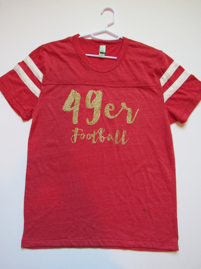BLACK FRIDAY SAMPLE SALE - MEDIUM - 49ERS FOOTBALL - T-SHIRT - Ruffles with Love - Womens Fitness - Workout Clothing - Workout Shirts with Sayings
