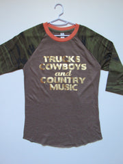 SALE - TRUCKS COWBOYS AND COUNTRY MUSIC - Ruffles with Love - Womens Fitness - Workout Clothing - Workout Shirts with Sayings