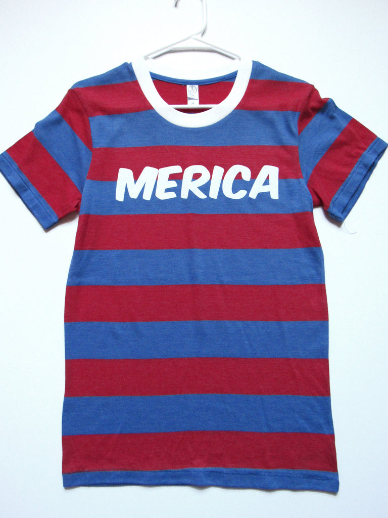 SALE - SMALL - MERICA - T-SHIRT - Ruffles with Love - Womens Fitness - Workout Clothing - Workout Shirts with Sayings