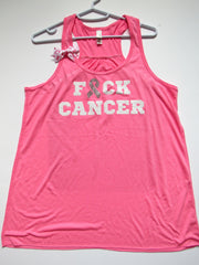 SALE - XL - F*CK CANCER TANK - Ruffles with Love - Womens Fitness - Workout Clothing - Workout Shirts with Sayings