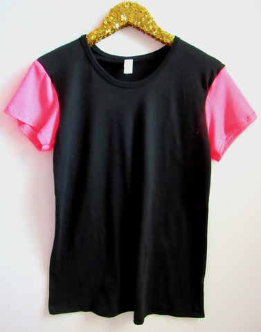 BLACK FRIDAY SAMPLE SALE - Back Tee with Pink Sleeves - Sleeve Tee - Ruffles with Love - RWL