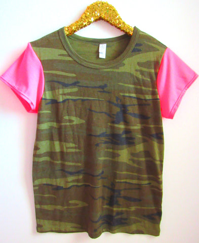 BLACK FRIDAY SAMPLE SALE - Camo Tee with Pink Sleeves - Sleeve Tee - Ruffles with Love - RWL