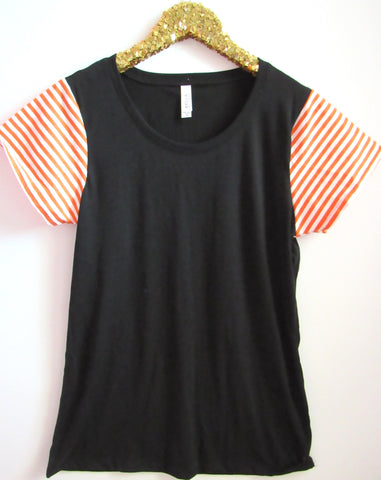 BLACK FRIDAY SAMPLE SALE - Black and Orange Striped Tee - Sleeve Tee - Ruffles with Love - RWL