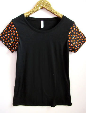 BLACK FRIDAY SAMPLE SALE - Candycorn Sleeve Tee - Sleeve Tee - Ruffles with Love - RWL