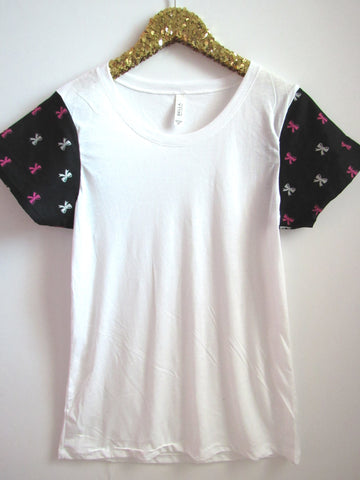 BLACK FRIDAY SAMPLE SALE - Bow Print Sleeves - Sleeve Tee - Ruffles with Love - RWL