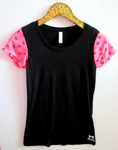 BLACK FRIDAY SAMPLE SALE - Bow Print Sleeve Tee - Sleeve Tee - Ruffles with Love - RWL