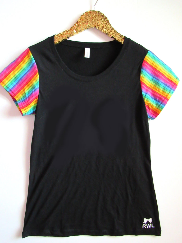 BLACK FRIDAY SAMPLE SALE - Back Tee with Rainbow Sleeves - Sleeve Tee - Ruffles with Love - RWL