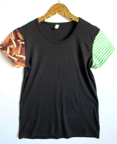 BLACK FRIDAY SAMPLE SALE - Football Sleeve Tee - Sleeve Tee - Ruffles with Love - RWL